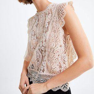 ZARA Lace Sleeveless Blouse Top Ruffle Sleeves XS